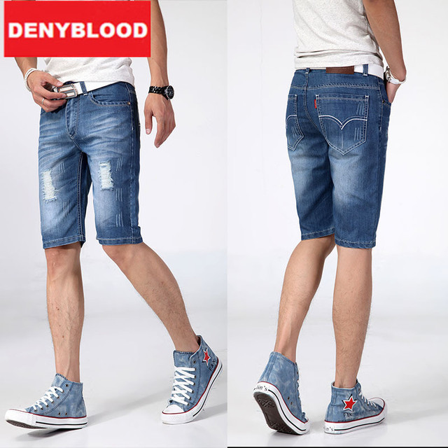 Summer Casual Men Ripped Jeans Capris Men Denim Breeches Shorts ...
