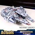 Lepin 05007 1381 Unids Fuerza de Star Wars Halcón Milenario Despierta Modelo Kit de Construcción de Bloques de Ladrillos de Juguete Para Niños 75105