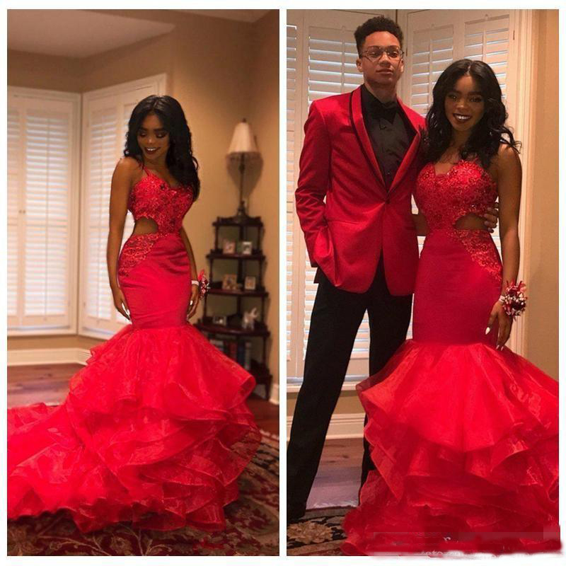 Long   Prom     Dresses   2019 Sexy Mermaid Style Straps Red Lace Appliqued Hollow Out African Black Girl Women   Prom   Party   Dress