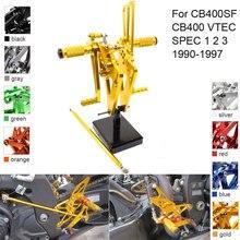 CNC Aluminum Adjustable Rearsets Foot Pegs For Honda CB400SF CB400 VTEC SPEC 1 2 3 1990 1991 1992 1993 1994 1995 1996 1997 цена