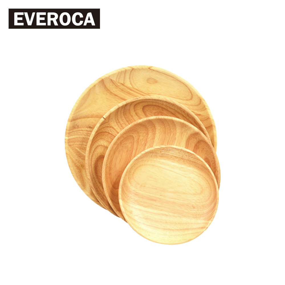 Creative Wood Plate Round Wood Dessert Dish Rubber Wood Fruit Plate Japanese Style Dishes in Dishes Plates from Home Garden