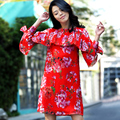 2016 Runway Trend Brand Summer Women Butterfly Long Sleeve Ruffles Flower Printed Red Chiffon Bohemain Loose Dress High Quality