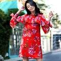 2016 Tendência Pista Mulheres Marca de Verão Borboleta Manga Comprida Ruffles Flor Vermelha Impressa Chiffon Bohemain Solto Vestido de Alta Qualidade