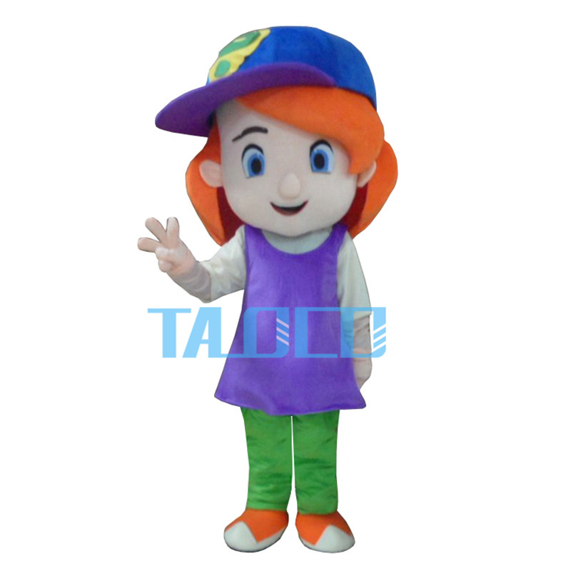Free Shipping Baseball Girl Red Hair Plush Cartoon Character Costume