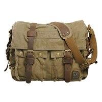 DCOS Men S Vintage Canvas Leather School Military Shoulder Bag Messenger Sling Crossbody Bag Satchel