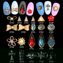 100PCS=1Lot new luxury Japanese alloy Zircon 3D Alloy Bow Nail Decoration Art Tips Stickers DIY Jewelry Charm( wholesale)