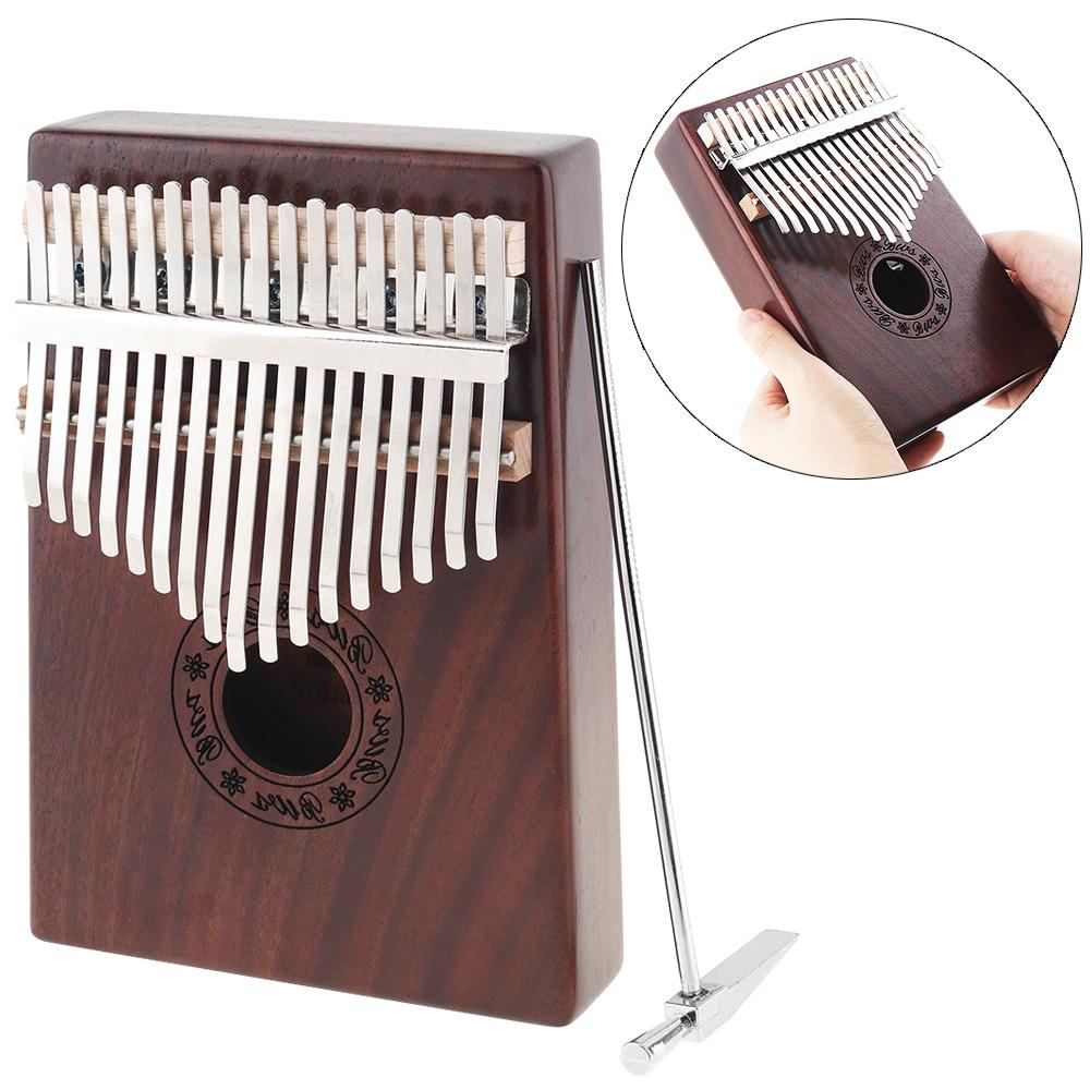 17 Key Kalimba Single Board Mahogany Thumb Piano Retro Mbira Mini Keyboard Instrument With Complete Accessories