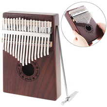 цены 17 Key Kalimba Single Board Mahogany Thumb Piano Retro Mbira Mini Keyboard Instrument with Complete Accessories