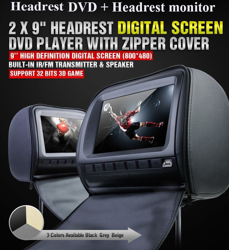 one pair 9 inch car headrest DVD player/lcd monitor,with zipper cover,USB/SD,32bit Game, ...