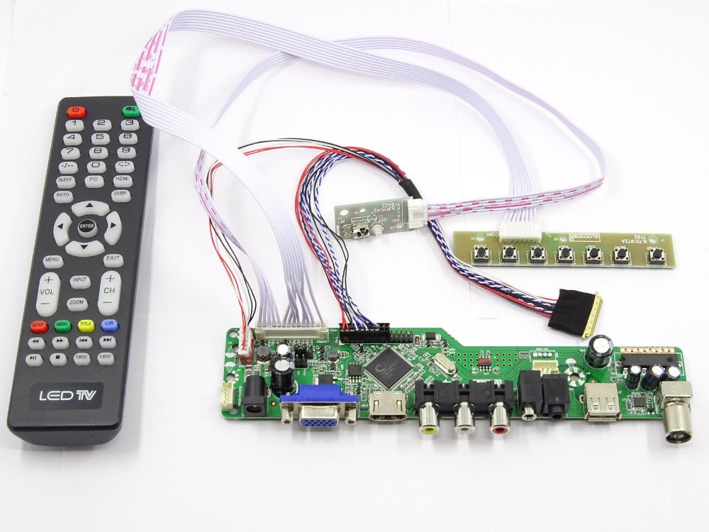 Latumab  Kit for LTN140AT16-201 TV+HDMI+VGA+USB LCD LED screen Controller Driver Board  Free shipping