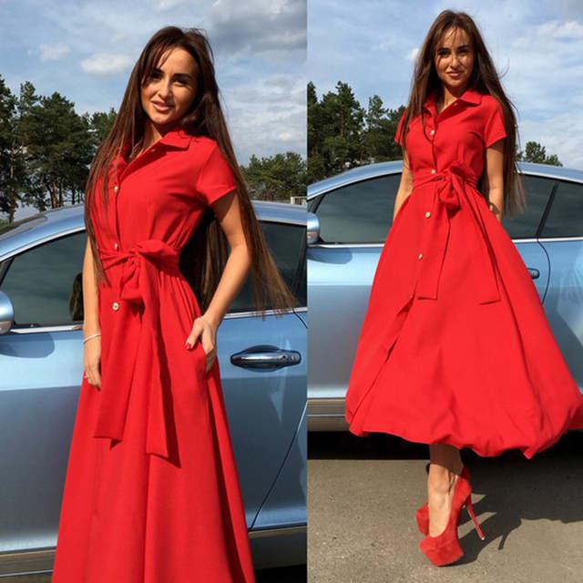 dd408597b0458 Yellow pink red green orange blue women short sleeve button down slit long  shirt dress with sashes Ladies autumn cape dress