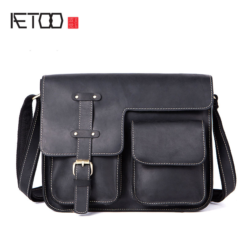 AETOO Vintage crazy horse leather men's cross-shoulder Messenger bag leather men's bag European and American men's bags