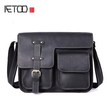 AETOO Vintage crazy horse leather men's cross-shoulder Messenger bag leather men's bag European and American men's bags