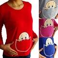 2016 Nueva Algodón De la Maternidad de Manga Larga Camisa Especializada de Las Mujeres Embarazadas Más Tamaño
