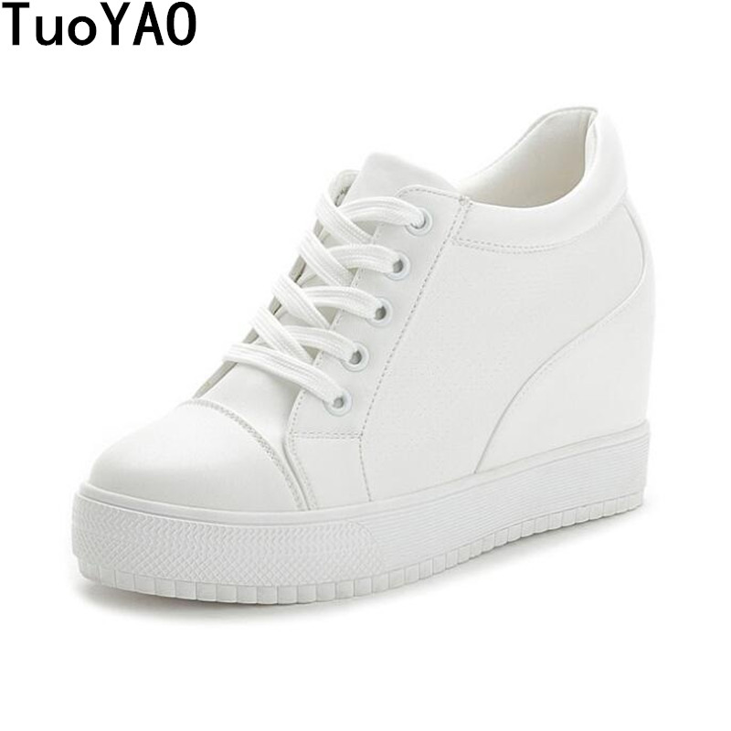 2018 New Women High Platform Shoes Height Increasing 11CM Ladies Sneakers Spring Women Shoes Breathable Pu Leather Shoes White