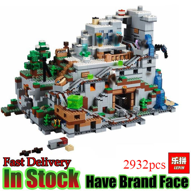 LEPIN 18032 Miniecraft 2932pcs Mountain Cave My worlds  Set Model Figure Building Kit Blocks Bricks Fun Toy for  Gift 21137 dhl lepin 18032 2932 pcs the mountain cave my worlds model building kit blocks bricks children toys clone21137 in stock