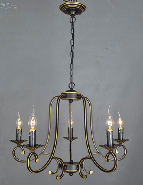 AC110 220V European Vintage Wrought Iron Candle Chandelier Minimalist  Dining Room Bedroom Living Room Candles Lighting