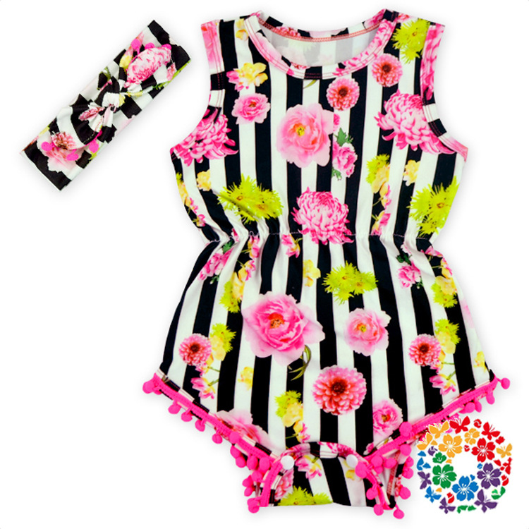 f120c85c8 Baby Girl summer outfits Pretty Romper set Flower Pom Pom Romper Child Rosy Baby  Girl baby