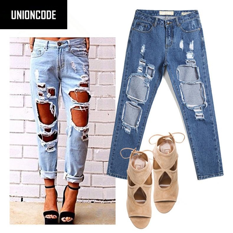 Ripped Boyfriend Jeans For Women 2017 Hot Sale Peto Vaquero Mujer Femme Loose Vintage Hole Denim Pants Distressed Jeans Am06