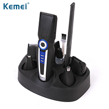 цена на KEMEI Electric 6 in 1 Hair Clipper Trimmer Comb Kit Rechargeable Shaver Razor Face Care Cordless Adjustable Clipper BT-030