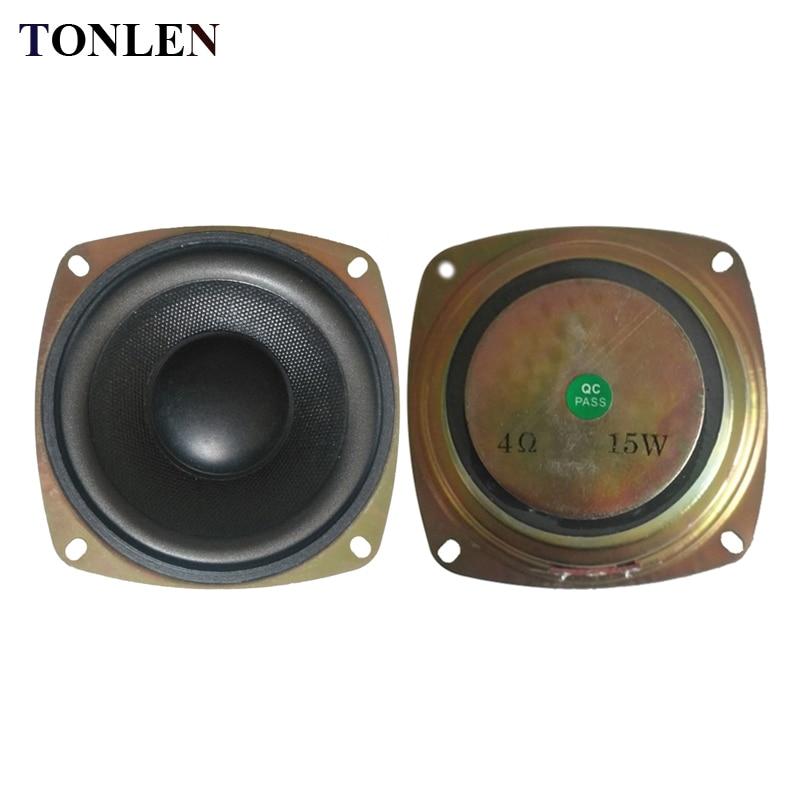 TONLEN 2PCS 4 inch Subwoofer Speaker 4ohm 15W HIFI Bass Woofer Portable Sound Speaker Full Range Speaker Horn Stereo Speakers