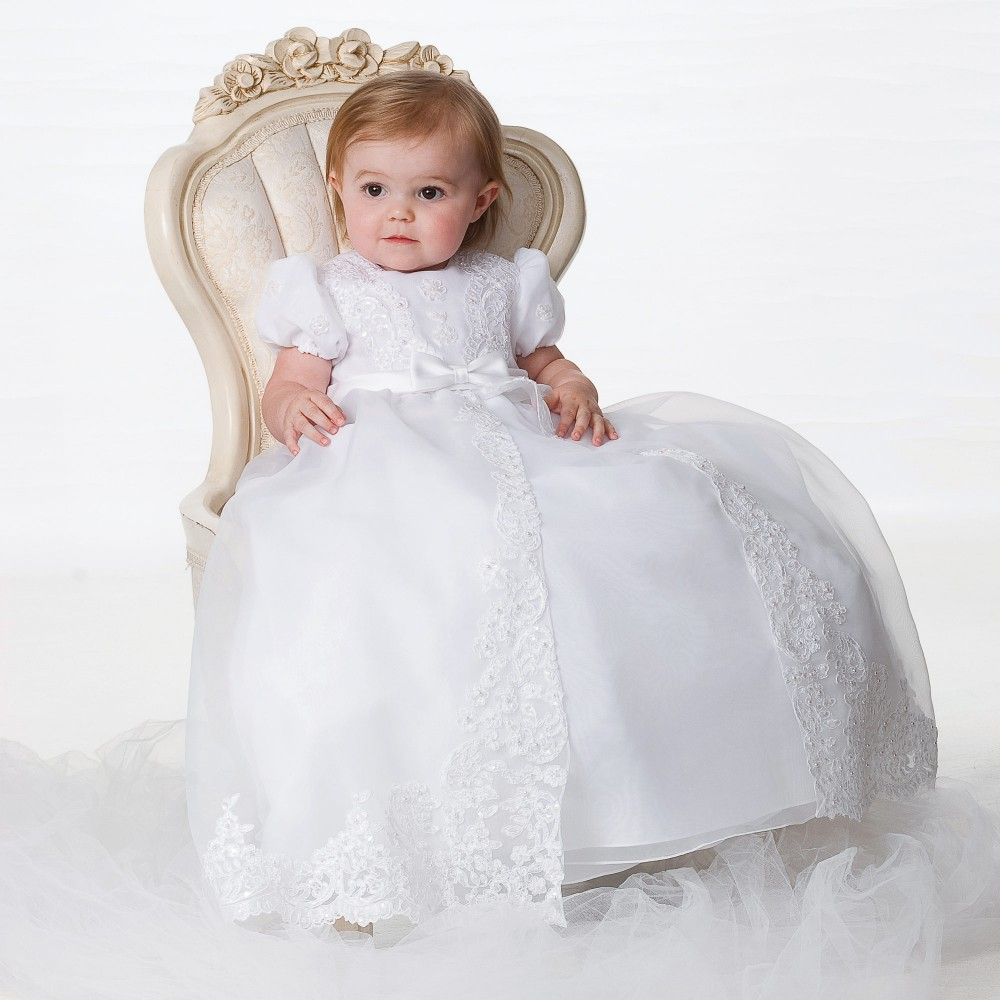 With Hat Baby Girl Christening Dresses Summer Style Puff Short Sleeves Bow Sashes O-Neck Baby Girl Party Baptism Gowns 1 year hot summer style baby girls dress o neck floor length puff sleeve sleeveless lace a line formal baby girl christening gowns