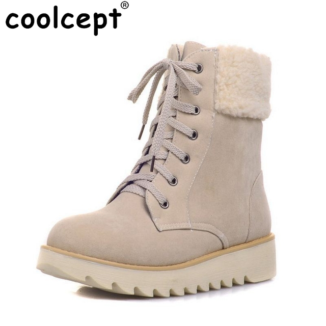 Women Boots Snow Warm Winter Boots Botas Mujer Lace Up Fur Half Short Boots Ladies Winter Shoes Woman Footwear Size 33 43 K00029