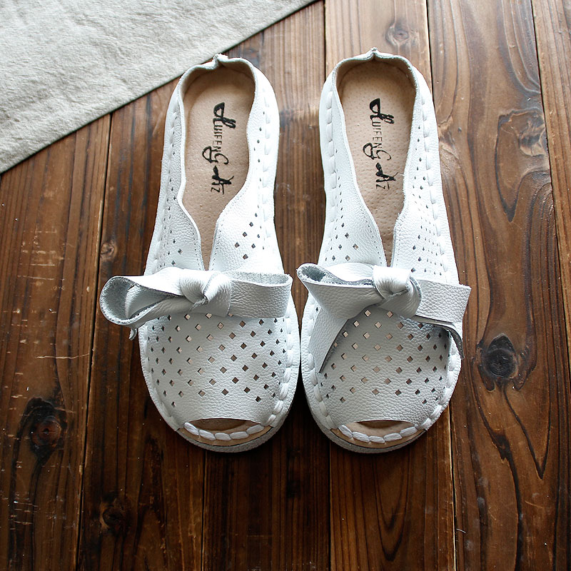 HUIFENGAZURRC-Summer Genuine Leather slippers,pure handmade shoes,the retro art mori girl Flats shoes, sweet Casual shoes,4color huifengazurrcs new pure handmade casual