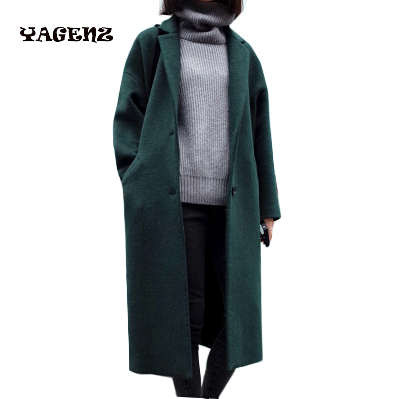 2017 Female windbreakerFemale windbreaker Woolen Cloth Coat Long womens Big Yards Solid Long Sleeve Overcoat new