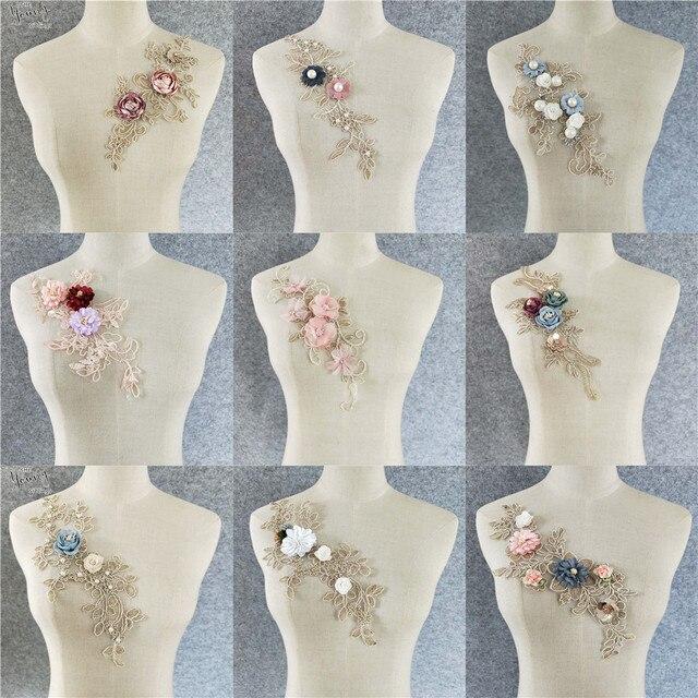 תפירת Venise תחרה צווארון 3D פרחוני רקום אפליקצית תחרה מחשוף צווארון DIY יישומים עבור בגדי אספקת שמלת כלה