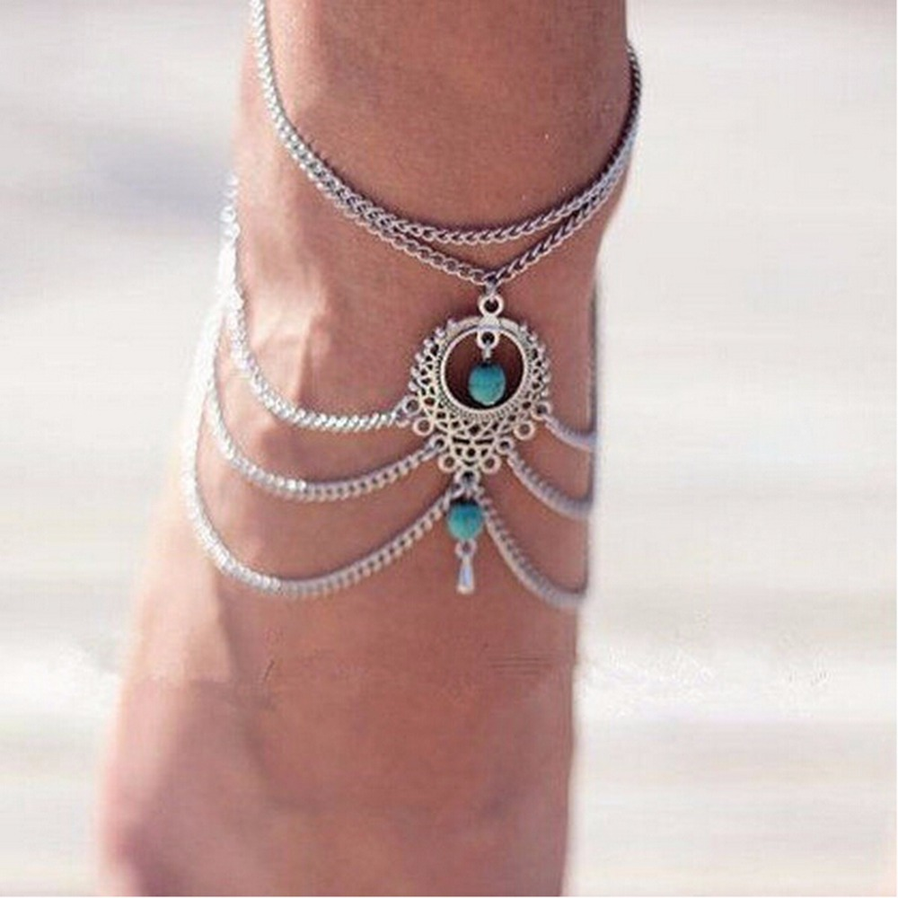 gold bracelet ankle jewelry luck clover good turquoise lucky olizz bracelets anklet foot filled