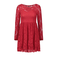 Sexy vestido de las mujeres rojo negro 2018 del cuello de O de manga larga plus tamaño vestido de fiesta Hueco por encima de la rodilla mini corto ocasional cordón de La Vendimia vestido
