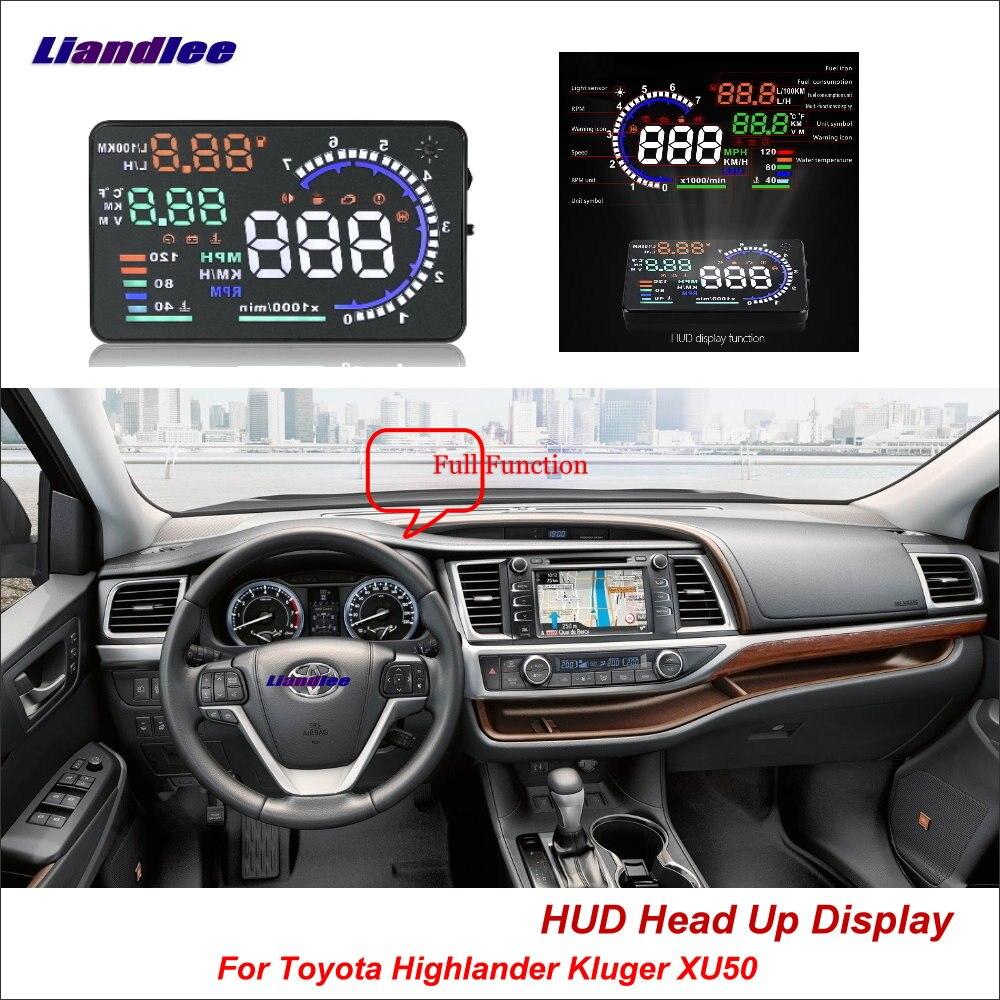 Liandlee pour Toyota Highlander Kluger XU50 2013-2018 écran de conduite sûr OBD voiture HUD tête haute affichage projecteur pare-brise