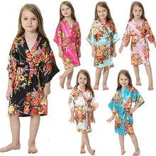 2018 New Brand Silk Satin Flower Girls Robes Children Kimono Robe Kids  Nightwear Gown Wedding Robes 670bddd4a