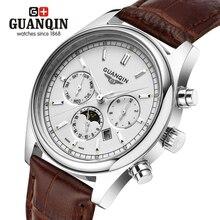 Бренд GUANQIN мужские деловые часы relogio masculino кварцевые часы часы мужчины 2016 orologio uomo календарь кварцевые часы
