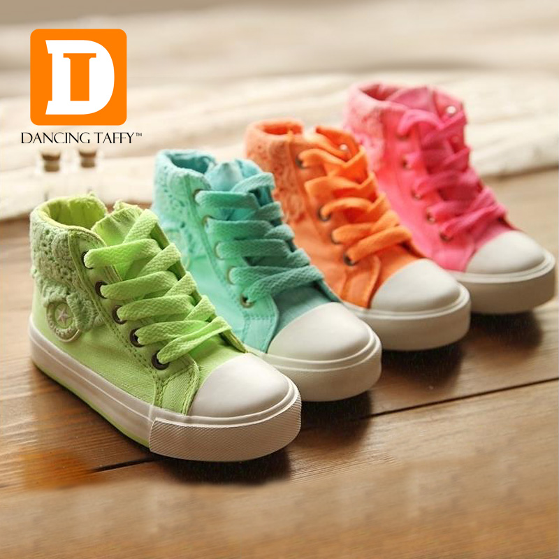 Colorful Girls Shoes 2018 Brand Casual Canvas Rubber Zip Children Shoes Fashion Princess Lace Kids Sneakers High Girls Sneakers