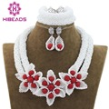 Trendy Chunky Nigerian Women Jewelry Sets White African Beads Wedding Crystal Necklace Set Silver Plated Free ShippingABH030