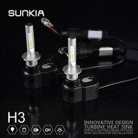 2pcs Set SUNKIA High Bright 60w 8400LM T5 Car LED Headlight H3 Car Styling 8 32V