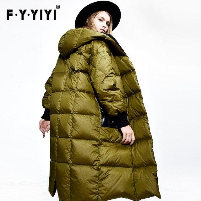 جاكيتات نسائية الشتاء الجديد 2016 سميكة أزياء فضفاضة كبيرة الحجم خياطة ضرب لون موجة الكورية معطف سترة الإناث الإناث طويلة