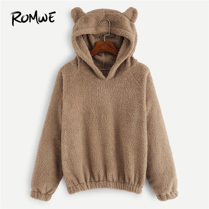 ROMWE Camel Solid Hooded Teddy Sweatshirt Women Casual Plain