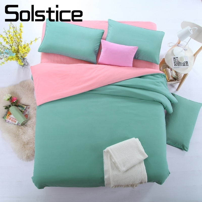 Solstice Home Textile King Twin Duvet Cover Pillowcase Bed Flat Sheet Solid Cyan Pink Bedding Set Woman Teen Kid Girls Bed Linen