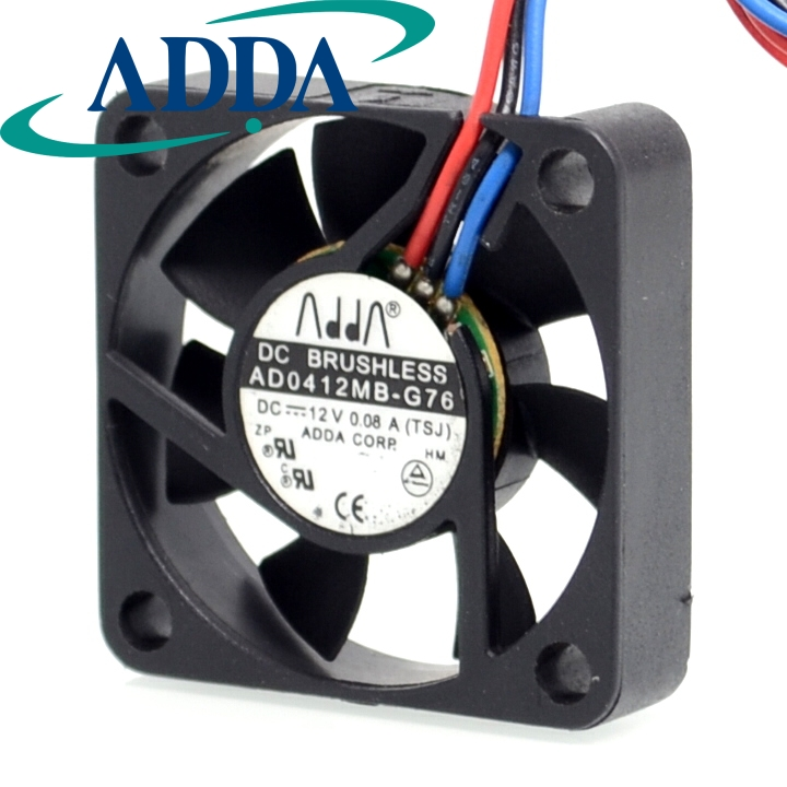 2pcs AD0412MB-G76 4010 4cm 40mm DC12V 0.08A ultra silent fan uble ball bearing high quality new ym1204pfb3 4010 4cm 12v 0 04a ultra quiet double ball bearing fan for first union 40 40 10mm