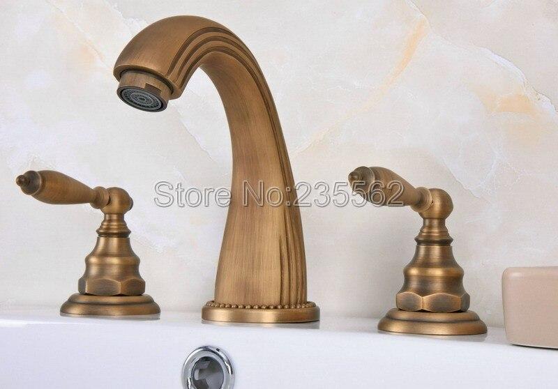 Mélangeur à double poignée en laiton Antique de Style répandu robinet de salle de bains lavabo monté sur le pont robinets évier lan069