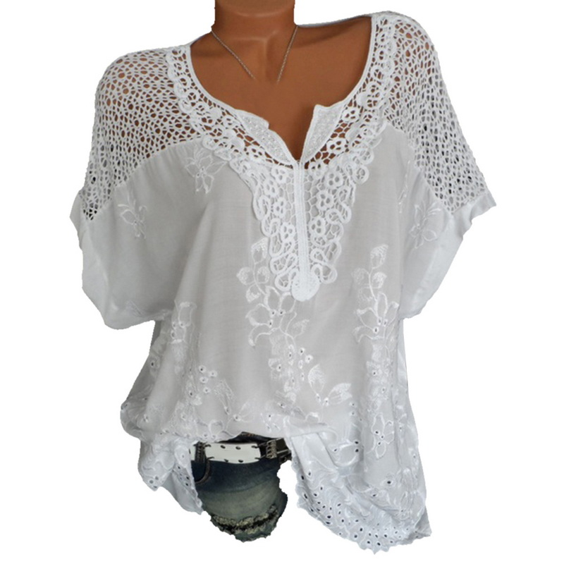 LASPERAL Plus Size 5XL Sexy Women Blouse Lace Hollow Tunic Tops 2018 Summer Short Sleeve Lady Office Shirt Casual Loose Blusa 5