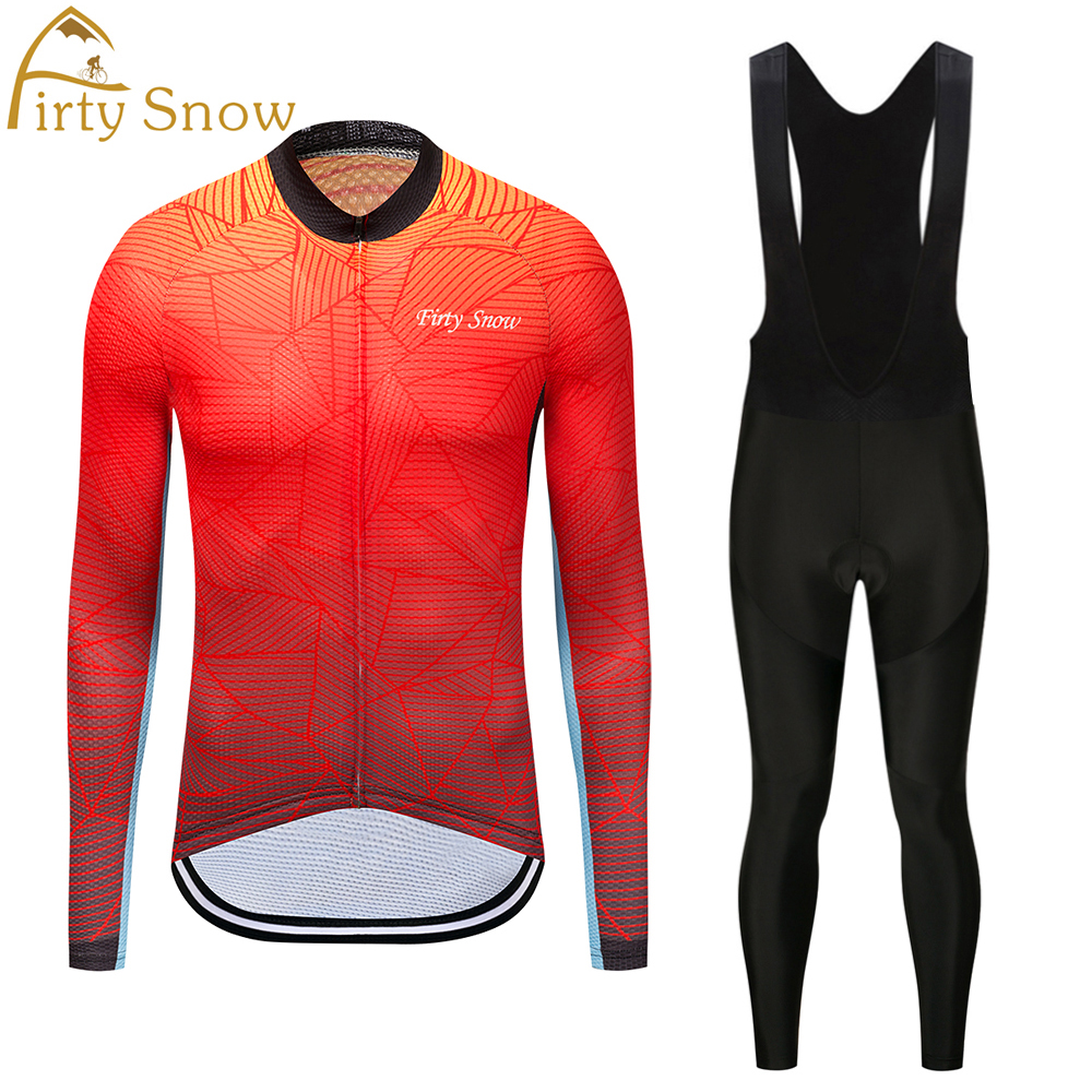 Firty Snow 2018 Brand High Quality Newest Fabric Thin Cycling Jersey Wear Long Set Ropa Ciclismo Bike Clothing Pants Red