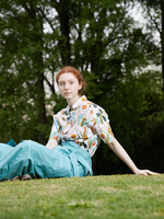 IRINAY165 2019 ss collection short sleeves long vintage printed shirt dress women