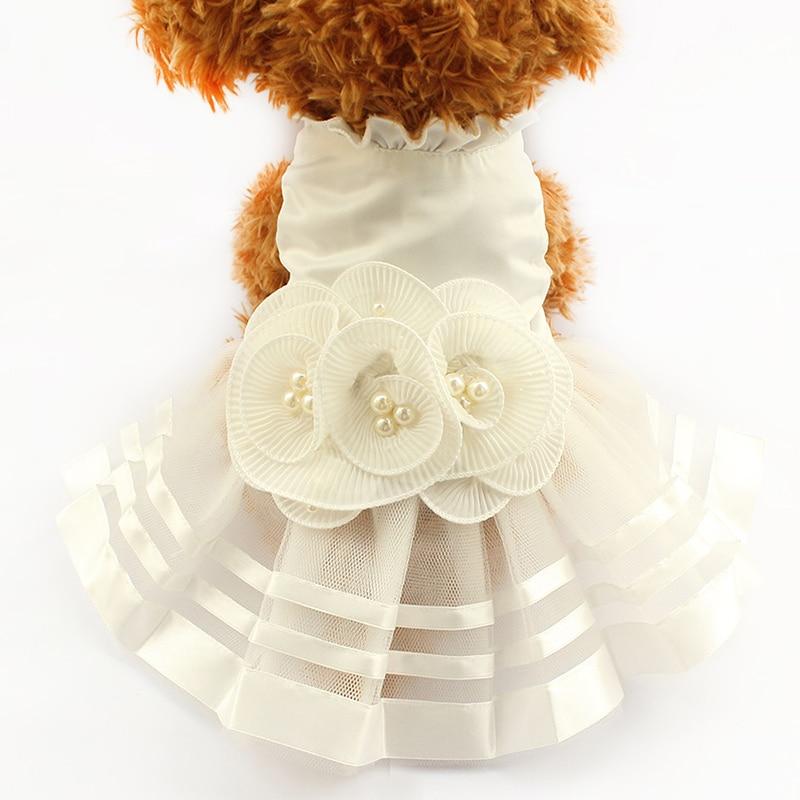 Armi Store Pearl Flower Adornment  Dog Dress Wedding Dresses For Dogs 6073008 Pet Skirt Costume Supplies  XS, S, M, L, XL