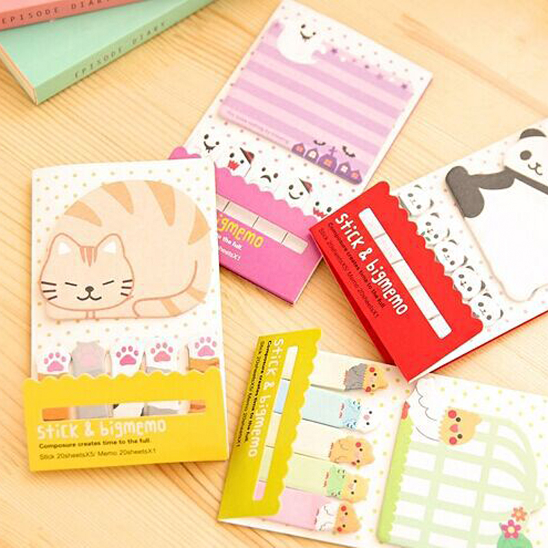 N Times  Sticker Memo Cute Kitten Sticky Notes School Office Post Note Pad
