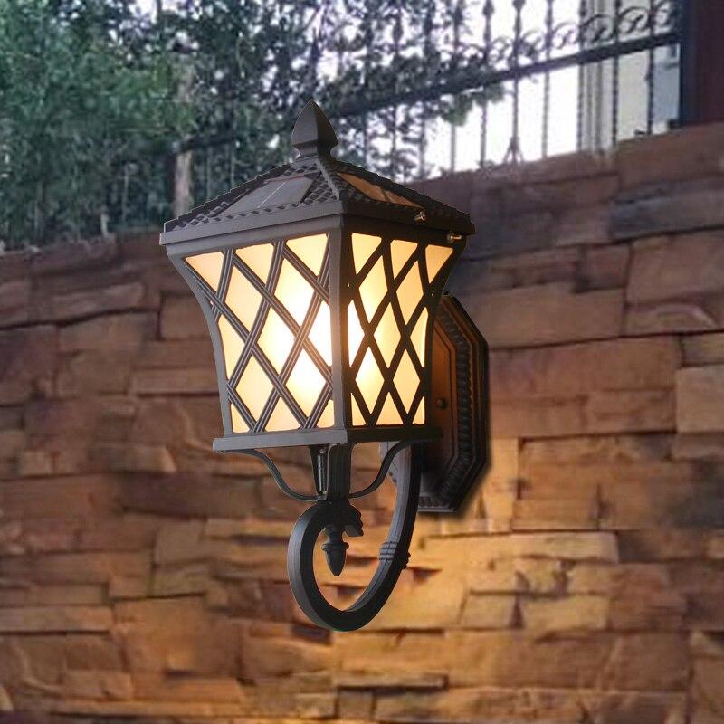 Сад вилла Солнечный настенный светильник Открытый водостойкий бытовой светодиодный балкон огни Открытый лампа для двора светильник для ко