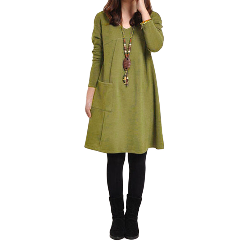 ANSELF Plus Size Long Sleeve Dress Casual Vestido